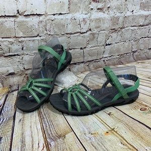 Teva Womens Green Canvas Strap Hiking Sandals 8.5